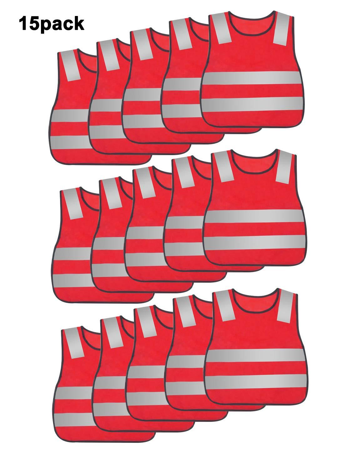 Kids High Visibility Vest Mesh Safety Vest Reflective Construction Vest Traffic Work Vest Industrial Vest Emergency Vest With Elastic Waistband Neon Red 15PCS