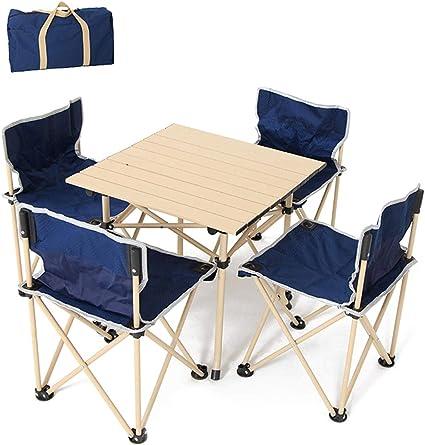 ZZZR Mesa Plegable portátil con 4 sillas, Mesa de Camping ...