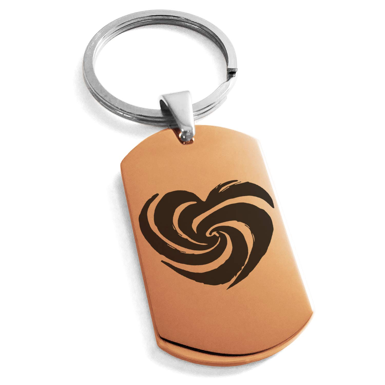 Tioneer Rose Gold Stainless Steel Love Swirl Heart Engraved Dog Tag Keychain Keyring