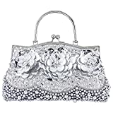 Bagood Women's Evening Bags Beaded Pearl Flower Handbag Clutches Purses Shoulder Bag for Wedding Prom Bridal Silver