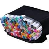 Yosoo 40, 60 or 80 Assorted Colors Alcohol Graphic Marker Pen Set, Dual Heads Animation Design Drawing Art Pen, Broad Fine Point Tip with Black Bag (60-Color)