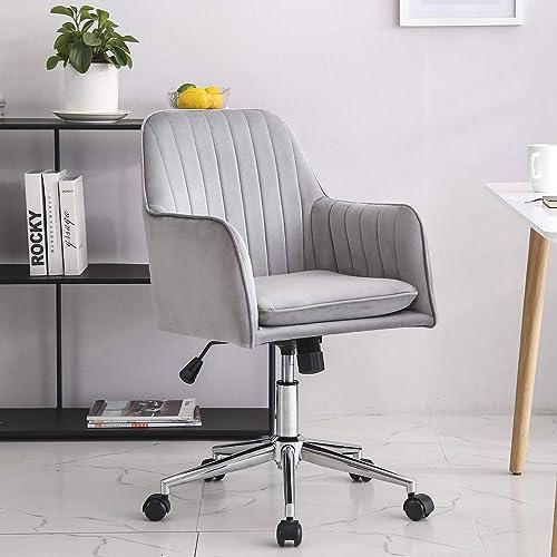 Home Office Chair Mid-Back Swivel Upholstered Modern Stripe Adjustable