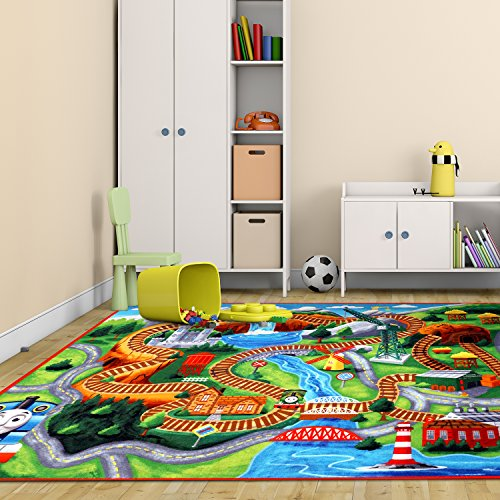 Thomas The Train Play Mat HD Thomas And Friends Tank Engine Railway Road Rug  Bedding Area Rugs 5x7, X Large Features: