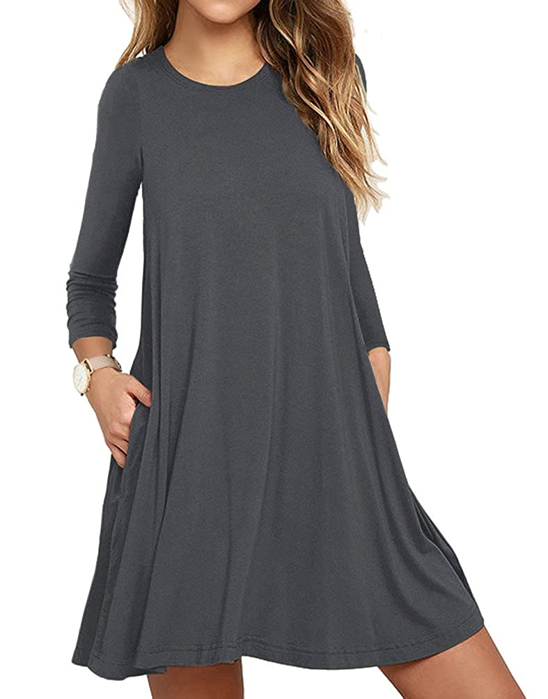 LILBETTER Women's Long Sleeve Pocket Casual Loose T-Shirt Dress