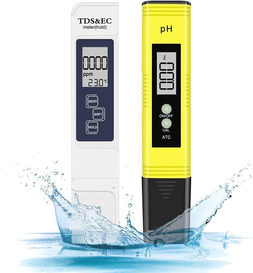 Eletorot Portable PH y TDS Test Pen Detector de Calidad del Agua en el hogar Pen Detector PH Digital Tester con Prueba de Pantalla LED para Piscina, Acuario