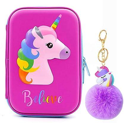 Estuche para lápices con diseño de unicornio con colgante de unicornio, organizador de lápices duro para niños con compartimentos, bolsa de cosméticos ...