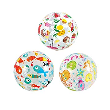 LIOOBO 3pcs Sea Creature Lively Print Pelota de Playa Transparente ...