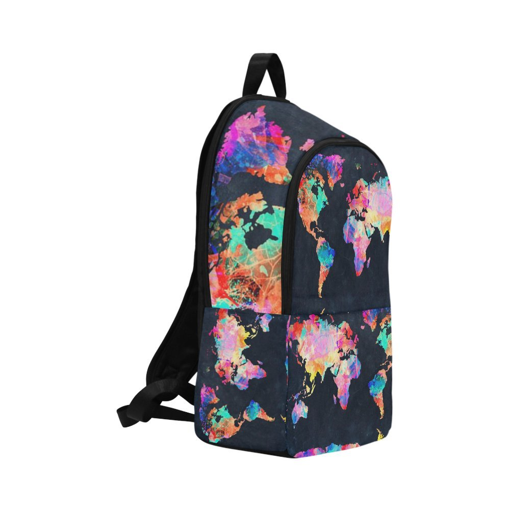 Love Nature Custom World Map Laptop Backpack Adult Casual Back Pack College Travel Backpack Bag Satchel Bookbag for Women and Men by Love Nature (Image #1)