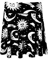 Women's Killstar Cozmic Death Skater Skirt Black