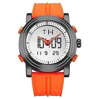 Sinobi SPORT Military hombre reloj de goma reloj digital cuarzo hora dual luminosa día fecha relojes de pulsera: Amazon.es: Relojes