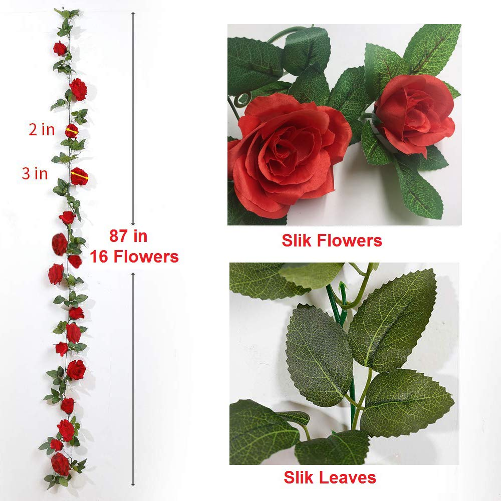 Artificial Rose Vines Fake Silk Flowers Rose Garlands Hanging Rose Ivy Plants for Wedding Home Office Arch Arrangement Decoration 16 Pink Flowers 28.8 FT FAMI 4PCS