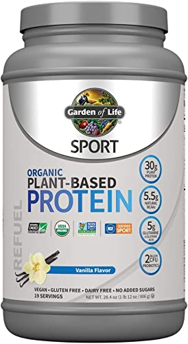 Garden Of Life Sport Organic Plant-Based Protein – BCAA Amino Acid Protein Powder, Vanilla 28.4oz 1lb 12oz 806g Powder *Packaging May Vary*