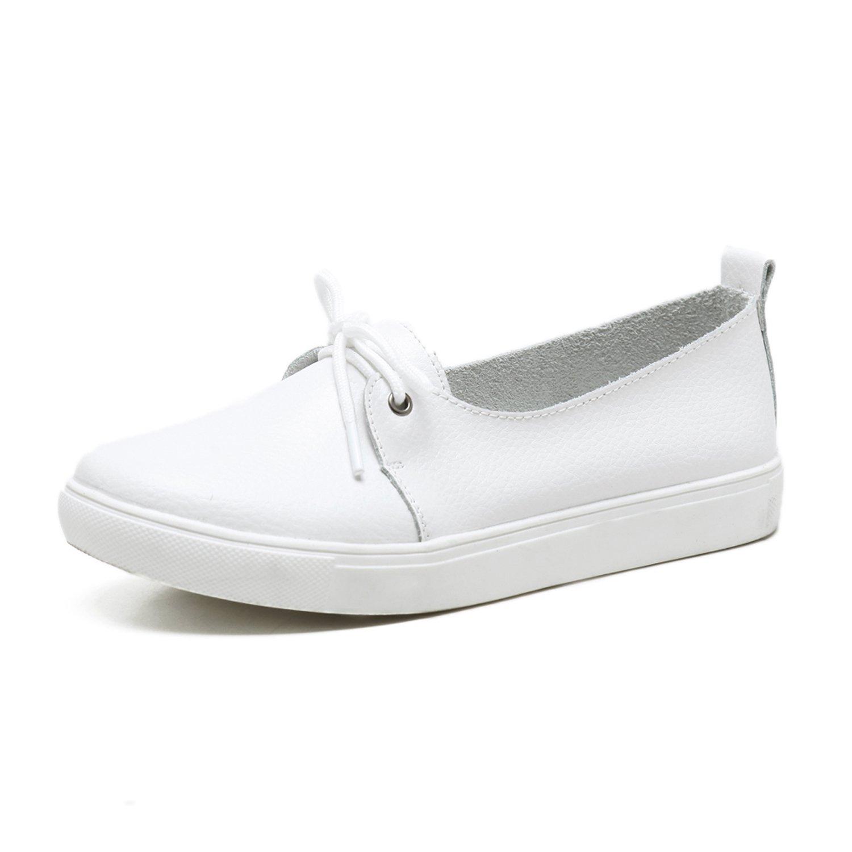 WAWEN Femme 15287 Mocassins Chaussures Plat Bateau Plates Loafers Chaussures Chaussures de Plat Conduite Cuir Infirmière Souples Chaussures Blanc 5b274e7 - shopssong.space