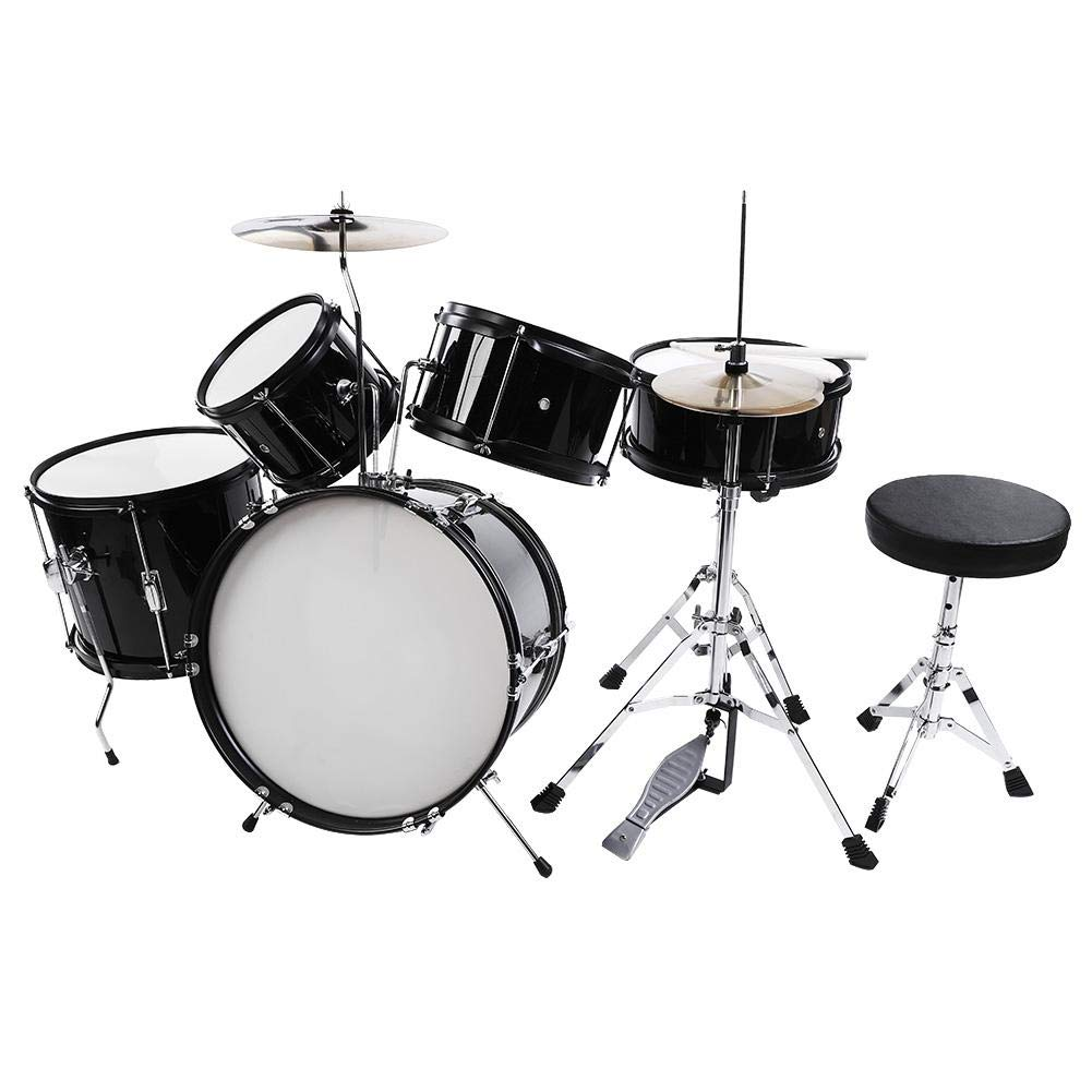 Cocoarm Drum Set Kids Junior Drum Kit 5 Drums 2 Cymbals 2 Drumsticks Stool Drum Pedal for Children Beginners (Black, 5-Piece) by Cocoarm (Image #1)
