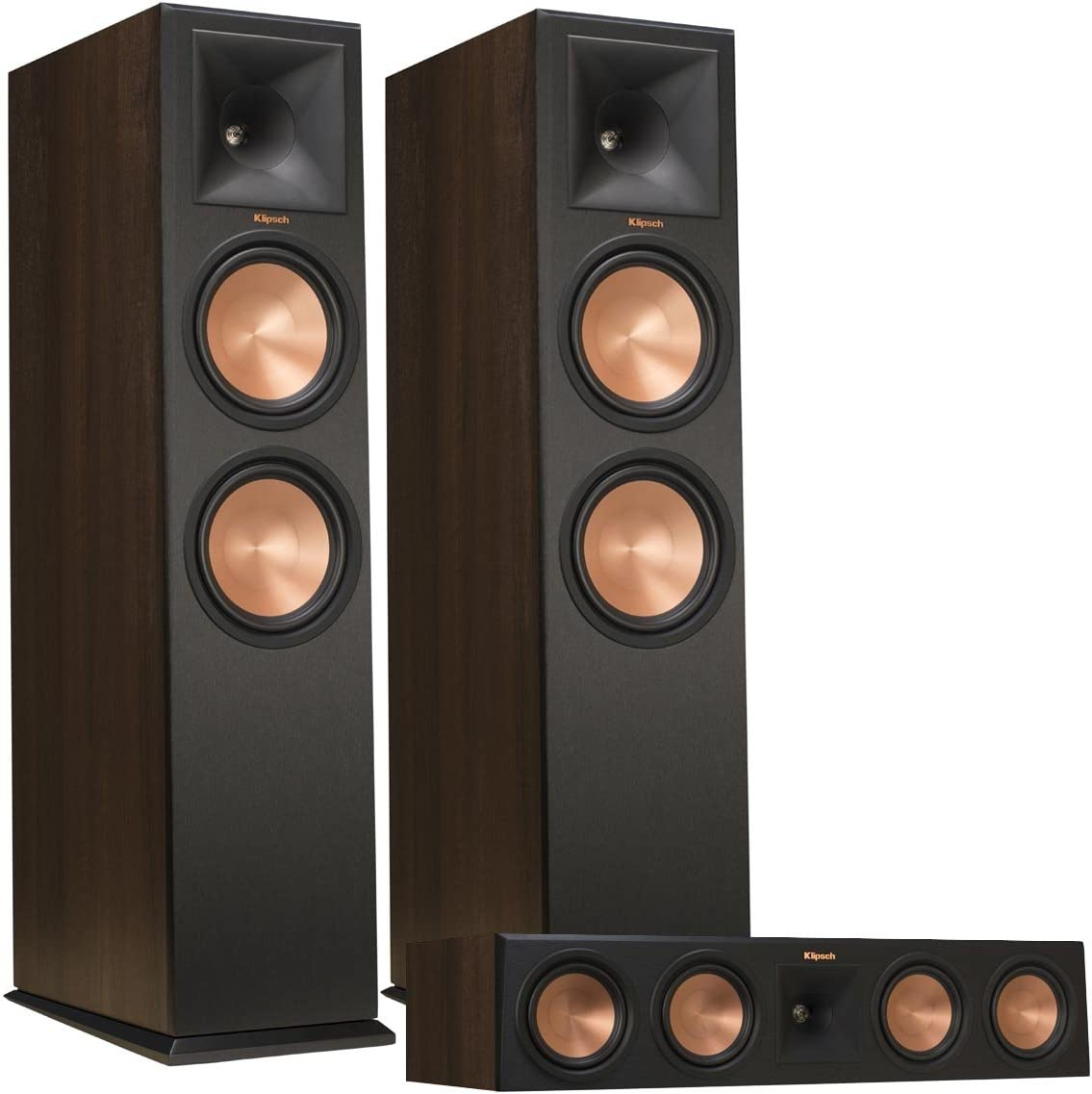 Klipsch RP-280F Reference Premiere Floorstanding Speaker Pair with RP-450C Reference Premiere Center Channel Speaker Walnut
