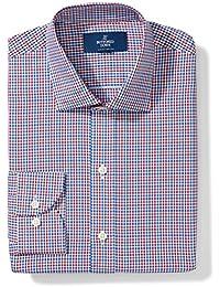 Men's Slim Fit Spread-Collar Pattern Non-Iron Dress Shirt