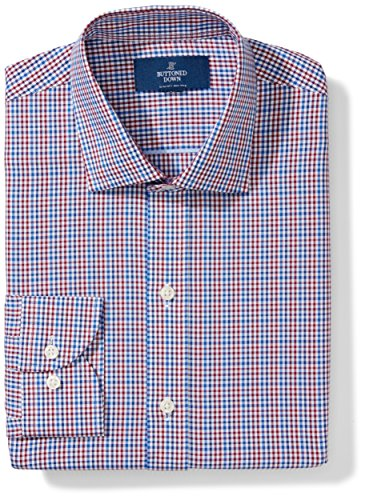 BUTTONED DOWN Men's Slim Fit Spread Collar Pattern Non-Iron Dress Shirt, Red/Blue Gingham, 15