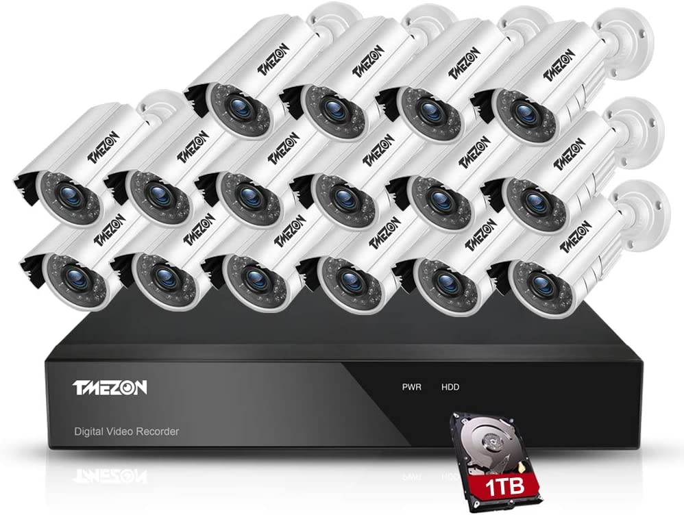 TMEZON 16CH AHD Security Camera System 1080N DVR Digital Video Recorder 16x 1080P 2.0MP 1500TVL Outdoor Night Vision Bullet Camera with 1TB HDD