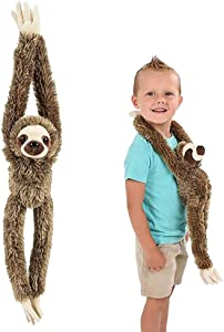 ArtCreativity Brown Hanging Sloth Plush Toy, 20 Inch Stuffed Three-Toed Sloth with Realistic Design, Soft and Huggable, Cute Nursery Decor, Best Birthday Gift for Boys and Girls