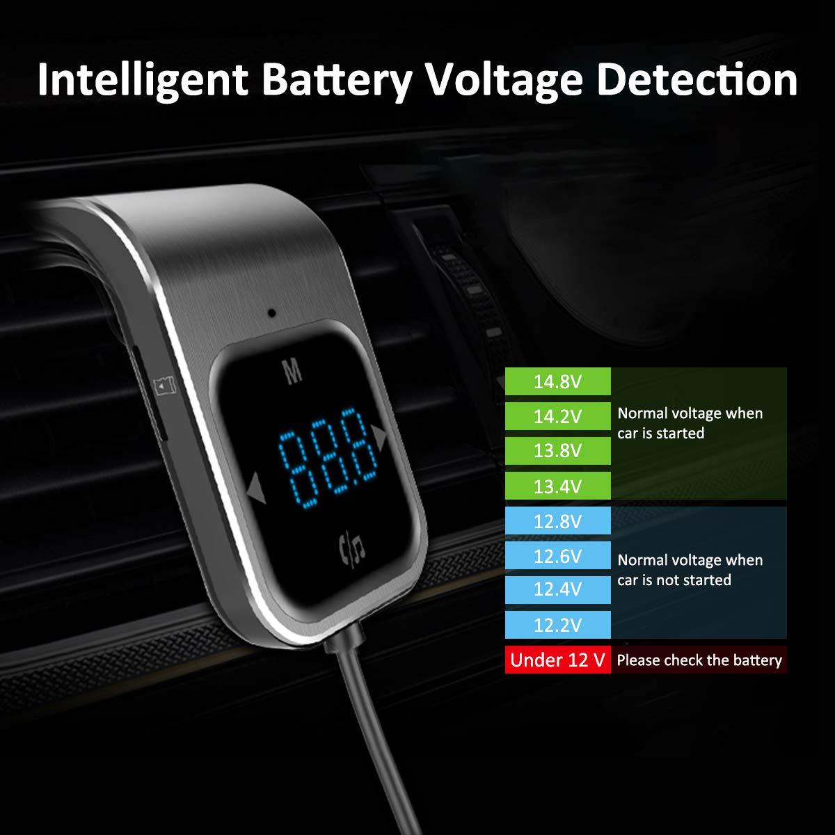 Transmetteur FM Bluetooth AceTend Transmetteur FM Kit de Voiture Mains Libres sans Fil Adaptateur Radio Chargeur de Voiture avec Double Port USB//Boutons de l/écran tactile//Carte TF Slot