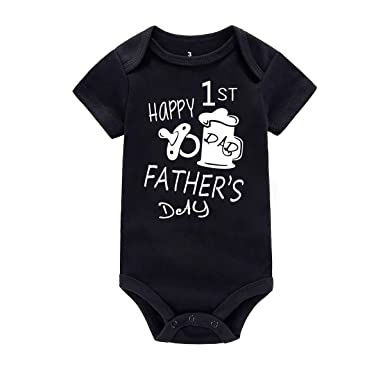 28f496bfd6cb WINZIK Happy 1st Father's Day Baby Bodysuit Romper Outfit Clothing Newborn  Infant Boy Girl One-Piece Jumpsuit Shirt