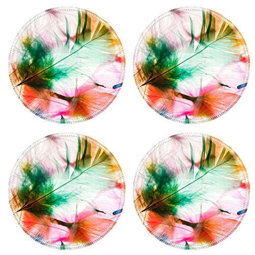 Liili Natural Rubber Round Coasters IMAGE ID 32691390 Colorful feathers