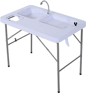 Cocina Mesa de camping plegable portátil Godyluck con grifo en ...