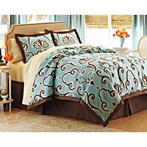 Luxury blue brown swirl damask queen comforter set 8pc bed in a bag home kitchen for Better homes and gardens bed in a bag