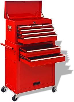 vidaXL Carrito Caja Herramientas 6 Cajones Acero Rojo Carreta Carro Carretilla: Amazon.es: Bricolaje y herramientas