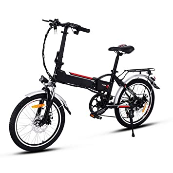 AIMADO Bicicletas Electricas de Montaña Plegable 18,7 Pulgadas, E-bike MTB 250W