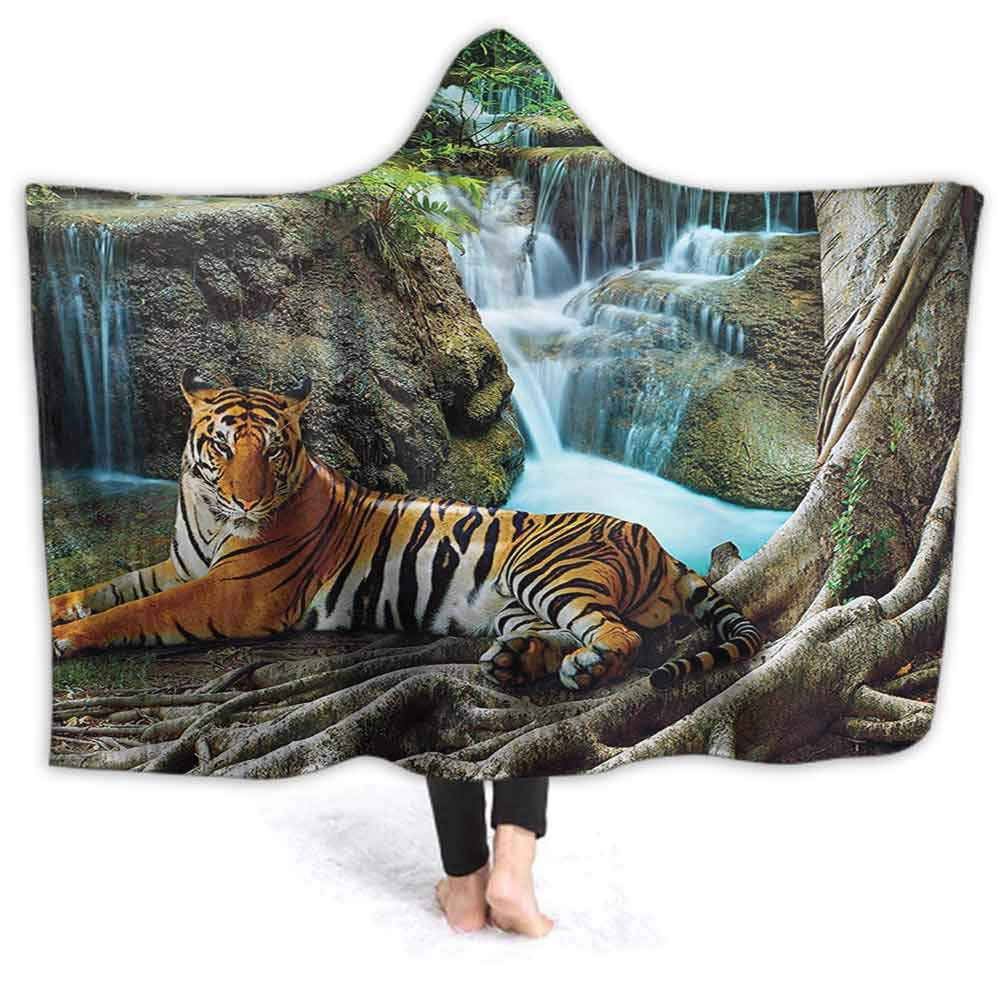 3D Printed Hooded Blanket, Indochina Tiger Lying with Relaxing under Banyan Tree Against Limestone Waterfalls Soft Fluffy Blankets for Adults Sherpa Fleece Winter Throw Blanket, 60W By 50H Inches