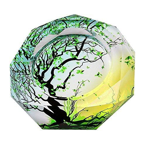 Gracave Crystal Cigarette Ashtray Home Office Tabletop Beautiful Decoration (tree3) (Art Ashtray Glass Cigar)