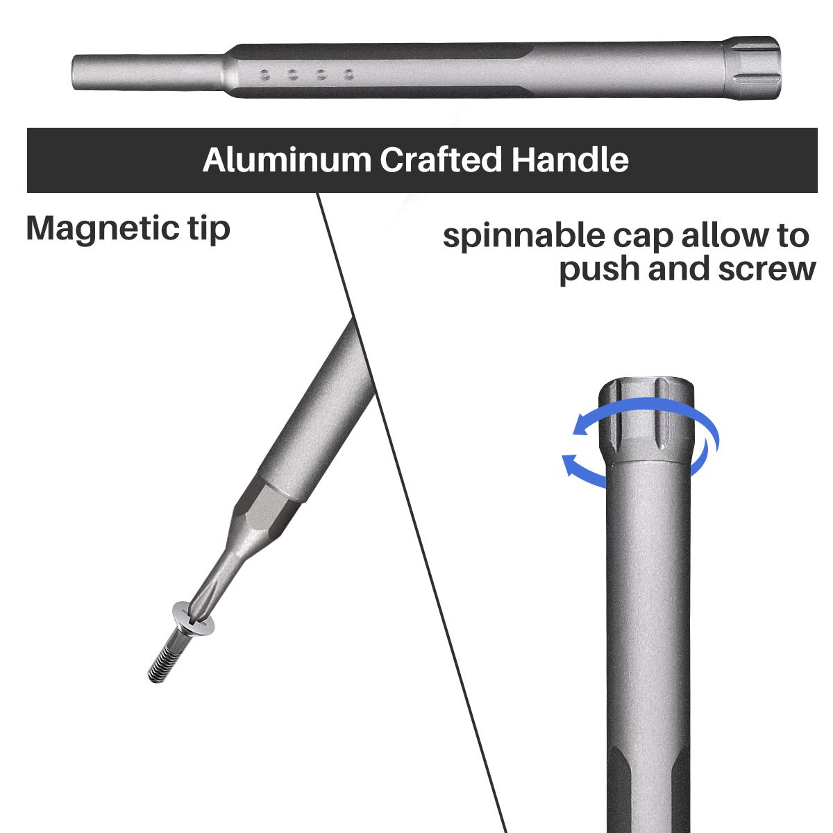 Electronics Repair Screw Driver Set with Alloy S2 Strong Steel, Magnetic Craftsman Screwdrivers Smartphone Repair Tool Kit 48 pcs for Fixing iPhone 8 Plus Game Console Tablet PC Watch Laptop Camera by Geyiie (Image #5)