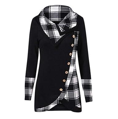 Female Hoodie Women Long Sleeve Plaid Turtleneck Tartan Tunic Sweatshirt Pullover Tops Black