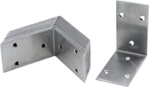 T Tulead Garden Bed Corner Bracket Silver Corner Brace 85x48mm Right Angle Brackets Stainless Steel Bed Brackets 2mm Thickness Shelf Brackets Support Braces Pack of 16 with Mounting Screws