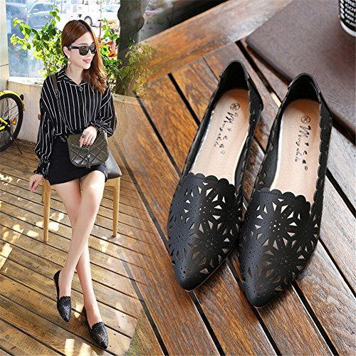 Out Hollow Casual ONS Shoes Pointed Sandals B Color Women's White Loafers 40 Toe Spring amp; Fall HUAN Size Breathable Slip PU Black nXAYwxqg
