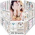 Lady Up Mix Style 20 sheet 150+ designs Body art Temporary Tattoos paper,Premium Metallic Flash Gold Silver and Multi-Colored Waterproof Tattoo for women kids or men 21X15cm/p