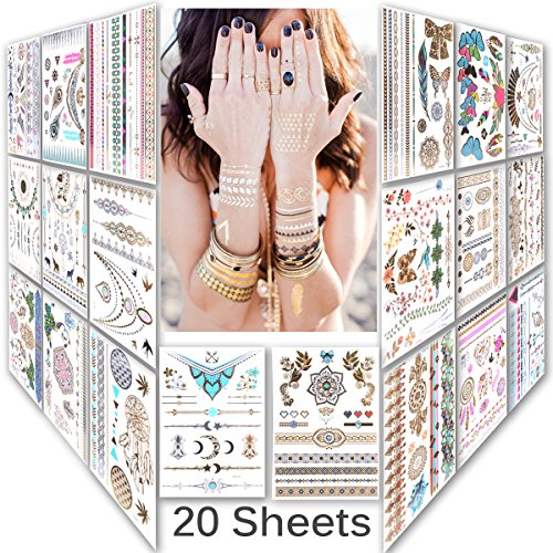 lady-up-mix-style-20-sheet-150-designs-body-art-temporary-tattoos-paperpremium-metallic-flash-gold-s