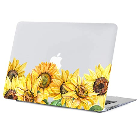 promo code 0e92b f9406 MacBook Air 13 inch Case Flower, Sunflower Case for MacBook Air 13 inches  Model:A1466/A1369, Rubberized Soft-Touch Matte See Through Clear Hard Shell  ...