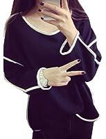 XQS Women Casual Round Collar Long Sleeve Plus Size Loose Shirt