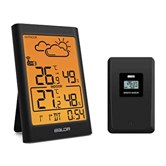 Touch Control Weather Forecast for Home Office Greenhouse N // A Wireless Weather Stations Digital Thermometer Hygrometer Indoor//Outdoor Humidity Meter Temperature Monitor with Outdoor Sensor