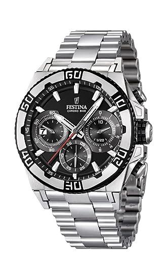 Festina F16658/5 - Reloj cronógrafo de cuarzo para hombre con correa de acero inoxidable, color plateado: Festina: Amazon.es: Relojes
