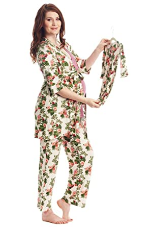 e487f7c54ecad Analise 5-Piece Mom and Baby Maternity and Nursing PJ Set (Beige Floral)