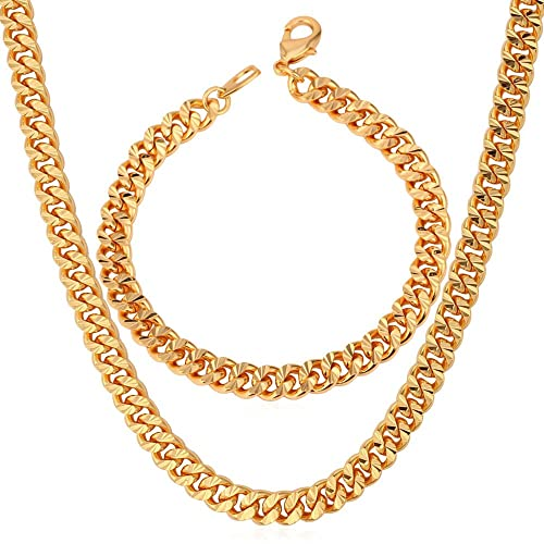 c9fbc8025f3b2 6mm Chain Set Cuban Curb Link Bracelet Necklace 18K Gold Plated Men Hip Hop  Jewelry