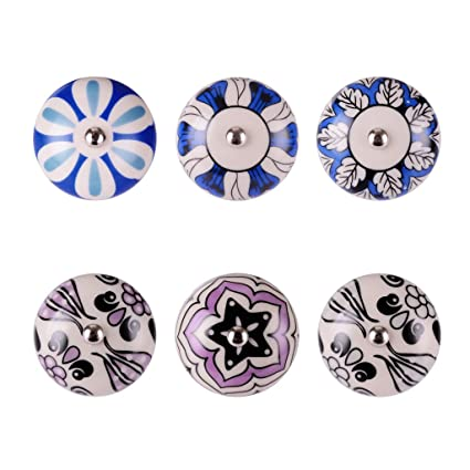 Superieur Wolfteeth 6pcs Decorative Round Ceramic Knobs Small Multicolor Drawer  Handles Kitchen Cabinets Pulls Dresser Knobs 7418