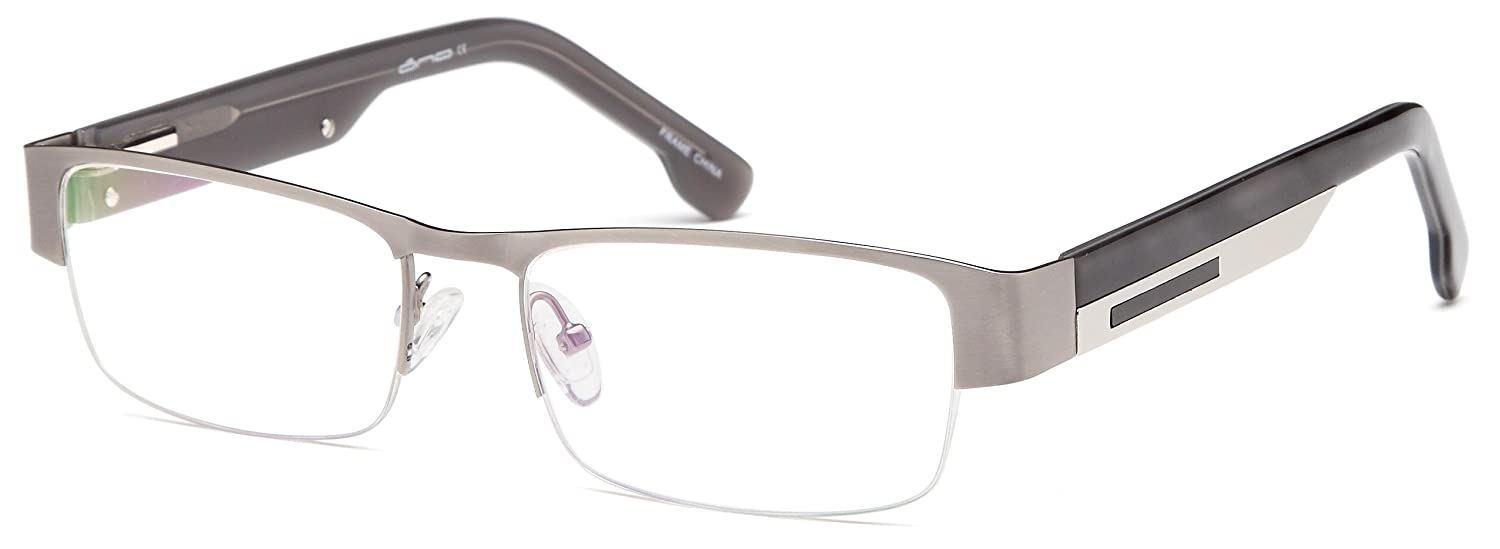 Amazon.com: Mens Semi Rimless Glasses Frames Gray Prescription ...