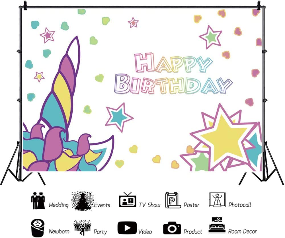 YEELE 10x8ft Cute Horn of Unicorn Backdrop Kids Birthday Party Photography Background Newborn Toddler Boys Portrait Party Table Decoration Photobooth Props Digital Wallpaper