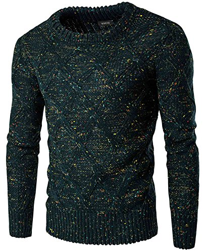 Nidicus Mens Crew-neck Colorful Assorted Dots Thick Knitted Thermal Sweater Ink Green XS