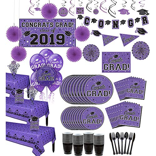 Party City Super Congrats Grad Purple 2019 Graduation Party Supplies for 54 Guests with Banner, Tableware and Balloons -
