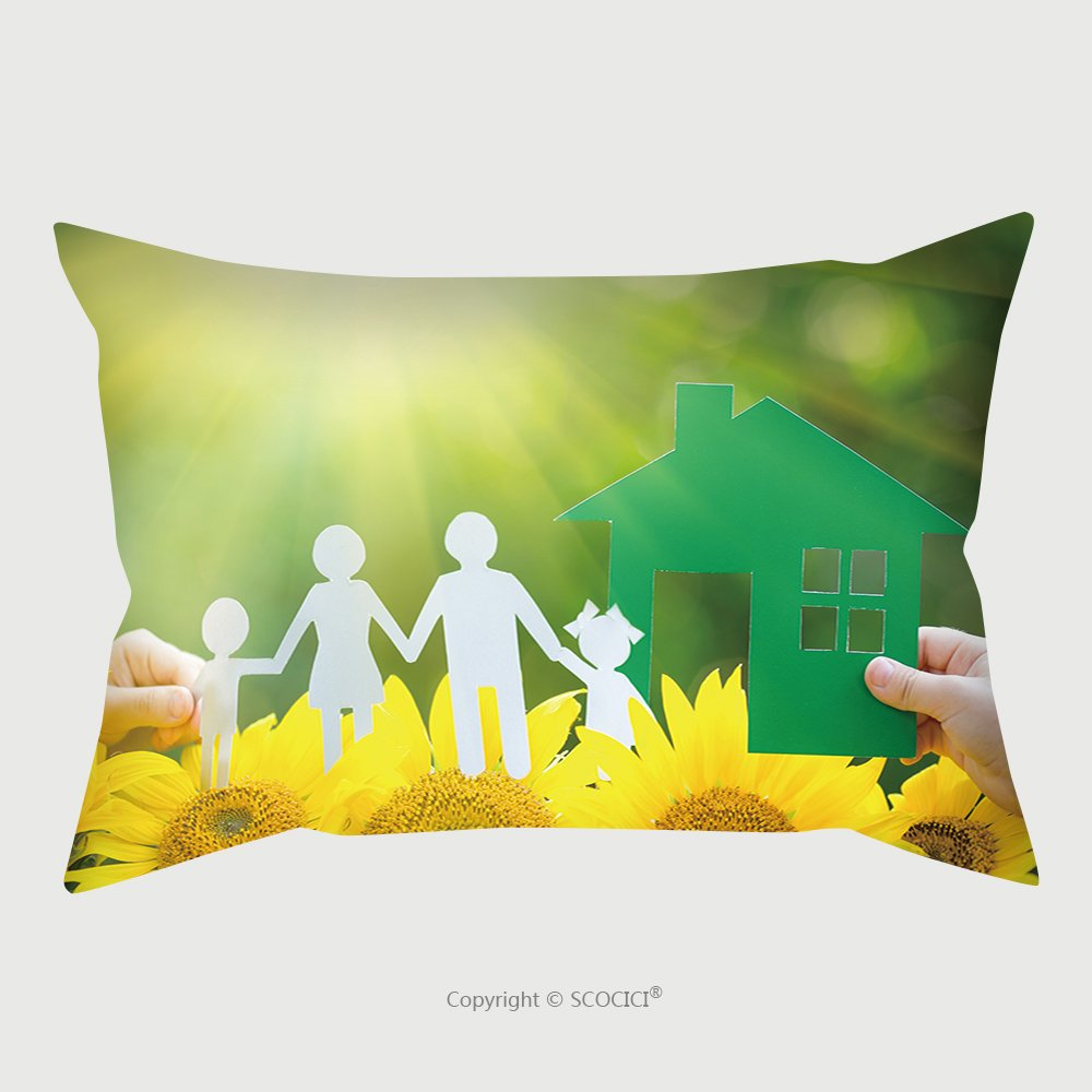 Custom Satin Pillowcase Protector Children Holding Paper House And Family In Hands Outdoors 175991966 Pillow Case Covers Decorative